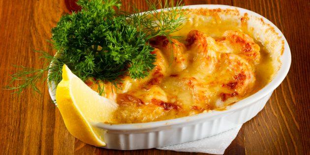 Как приготовить кальмары в духовке с грибами и сыром