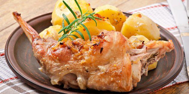 Пештегі қоян пияз мен картоппен: қарапайым рецепт