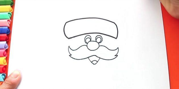 サンタクロースを描く方法:キャップの端を描く