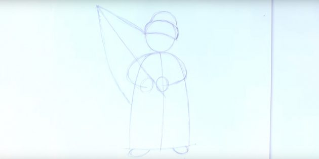 サンタクロース放牧を描く方法:木や帽子の輪郭を描く