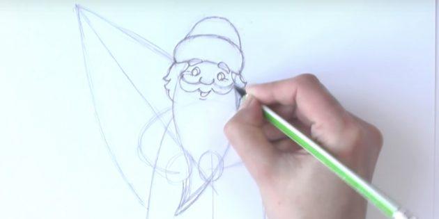 サンタクロースステージを描く方法:顔と髪を描く
