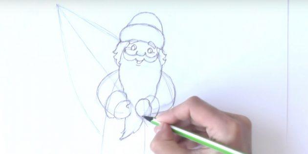 サンタクロース放牧を描く方法:ひげと手を描く