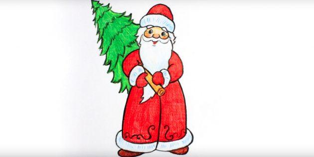 クリスマスツリーでサンタクロースを描く方法