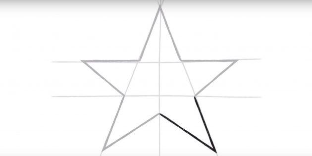 스타의 다섯 번째 꼭대기를 그립니다