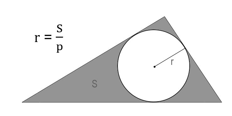 Аймақ арқылы шеңбердің радиусын қалай табуға болады және сипатталған үшбұрыштың жартылай нұсқасы