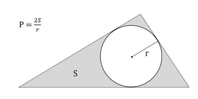 Cara mencari keliling segitiga, mengetahui luasnya dan jari-jari lingkaran yang tertulis