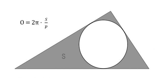 Cara menemukan panjang keliling melalui area dan setengah versi dari segitiga yang dijelaskan