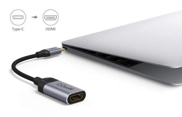 Paano ikonekta ang ikalawang monitor sa isang computer o laptop: isang halimbawa ng isang USB-C / HDMI adapter mula sa QGEEM