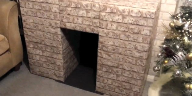 Decorative fireplace with their own hands: Stick from behind and downstairs dark cardboard or other material
