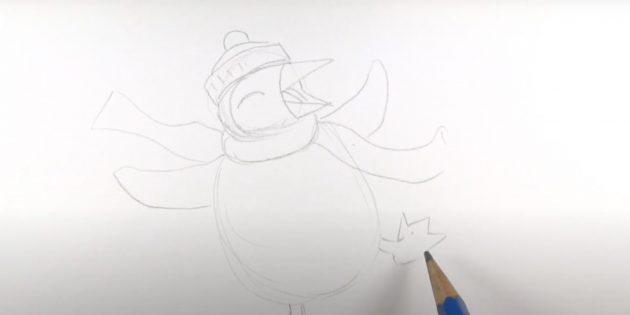 एक पेंगुइन कैसे आकर्षित करें: एक दूसरे पंजा को चित्रित करें