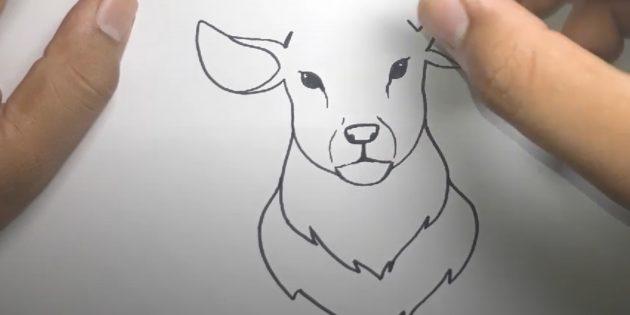 """Piirrä toinen """"kaulus"""" peurasta ja tee ruuvi nenästä suuhun"""
