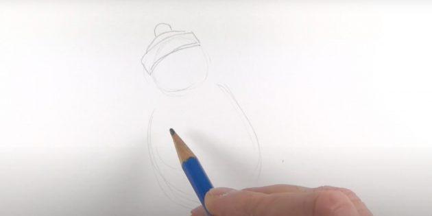 एक पेंगुइन कैसे आकर्षित करें: एक टोपी ड्रा करें