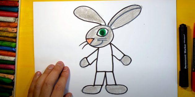Làm thế nào để vẽ một cái thỏ rừng: màu mũi và mắt
