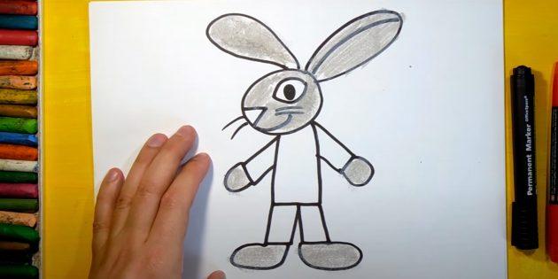 Làm thế nào để vẽ một cái thỏ rừng: Cắt bàn chân, đầu và tai