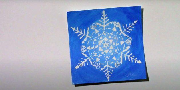 Como desenhar um floco de neve com líquido de cola ou mascaramento