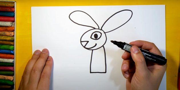 Làm thế nào để vẽ một cái thỏ rừng: Vẽ mắt, mũi và nụ cười