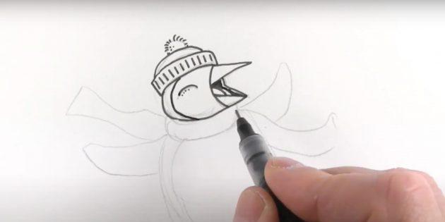 एक पेंगुइन कैसे आकर्षित करें: सर्किट हेड कंटूर
