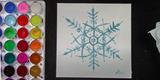 Como desenhar um floco de neve com tintas