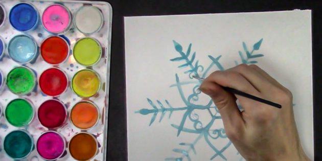 Como desenhar floco de neve: desenhar cachos