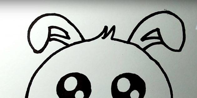 Làm thế nào để vẽ một con thỏ: hình ảnh một tai thứ hai