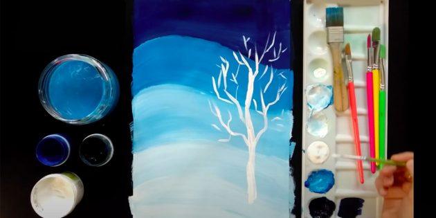 چگونه می توان چشم انداز زمستانی را جلب کرد: سایه ها و نور را اضافه کنید