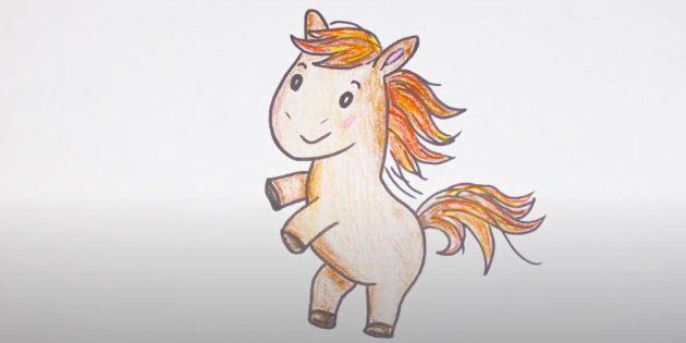 Hoe een paard te tekenen: voeg heldere tinten toe