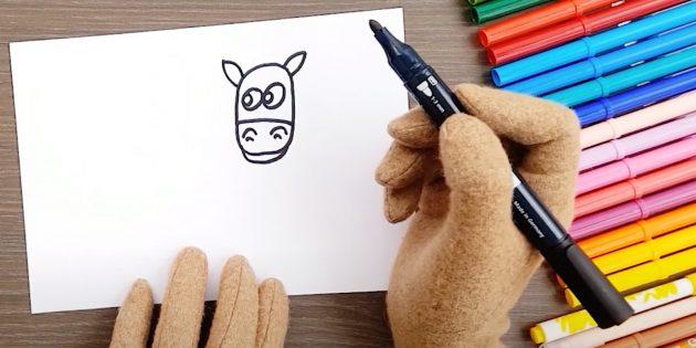 Hoe een paard te tekenen: Teken je ogen en oren