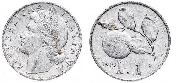 1 lira. 1949 ano. Alumínio