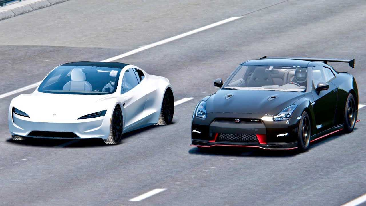 Watch Tesla Roadster Race Nissan Gt R Nismo Simulated Video