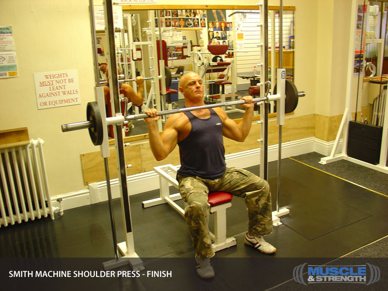 Smith Machine Shoulder Press Video Exercise Guide Amp Tips