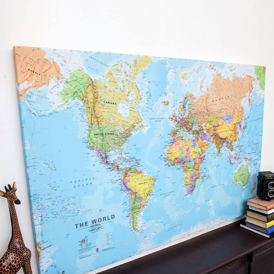 world canvas map print by maps international   notonthehighstreet com World Canvas Map Print