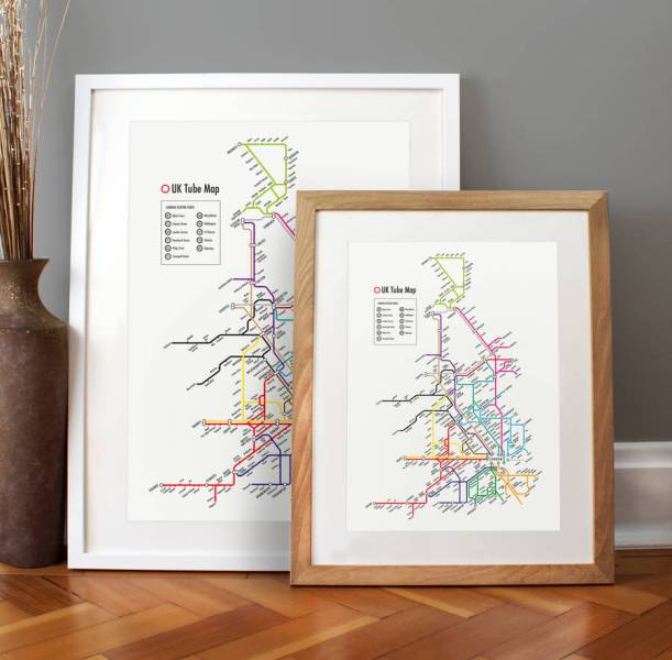 tube map of the uk print by over   over   notonthehighstreet com Tube Map of the UK Print