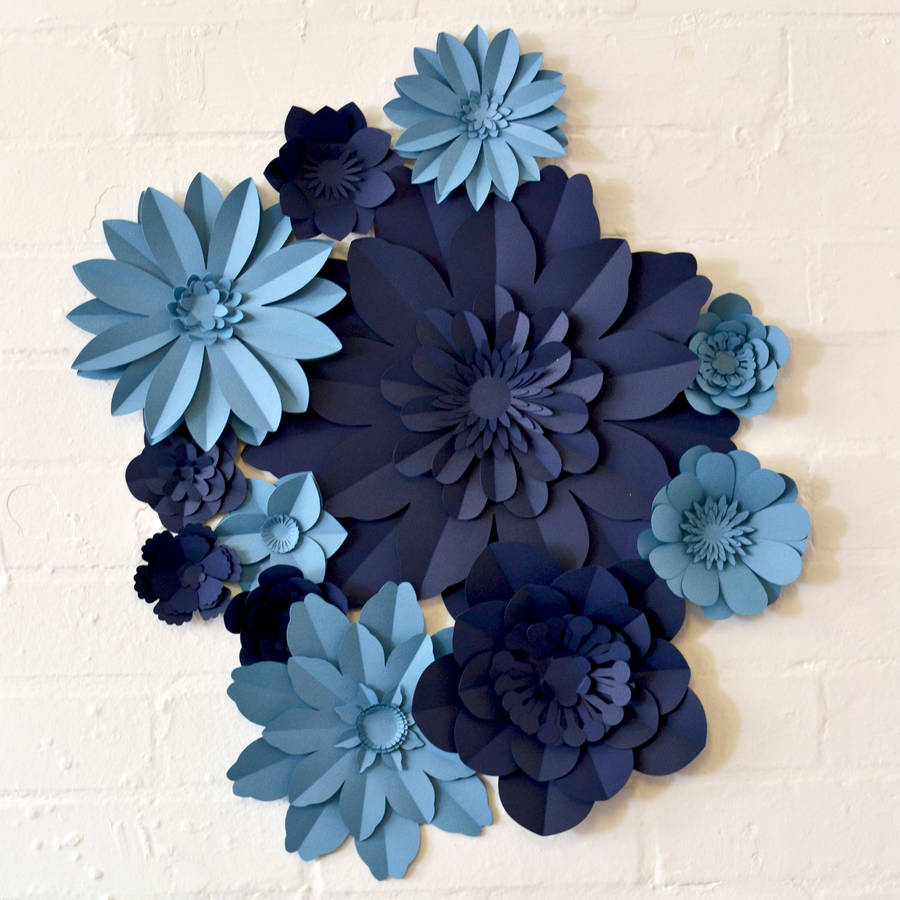 handmade two colour paper flower wall display by may contain glitter     Handmade Two Colour Paper Flower Wall Display