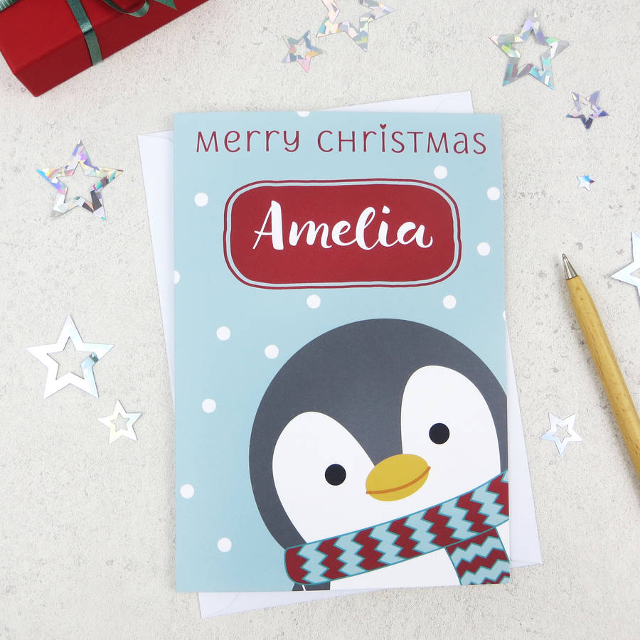cute xmas penguin personalised christmas card by wink ...