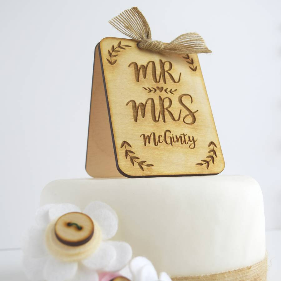 personalised wooden wedding cake topper by just toppers     Personalised Wooden Wedding Cake Topper