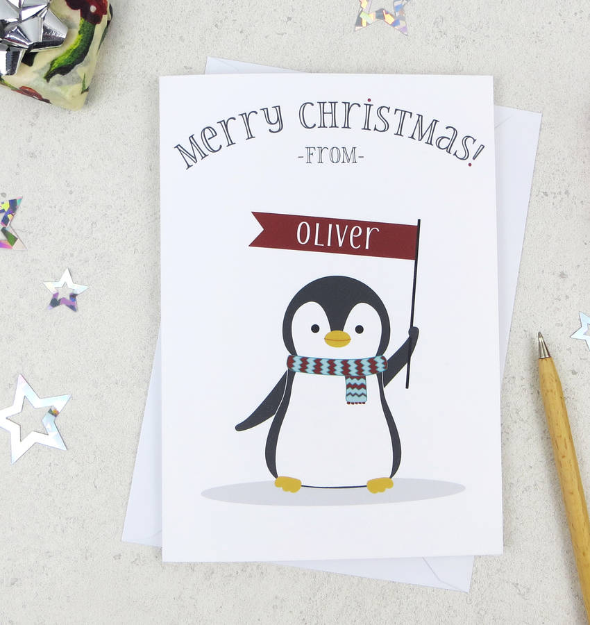 cute christmas penguin personalised xmas card by wink ...