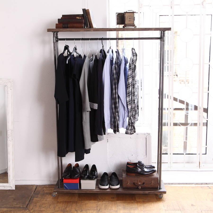 Dark Brown Wood Wardrobe