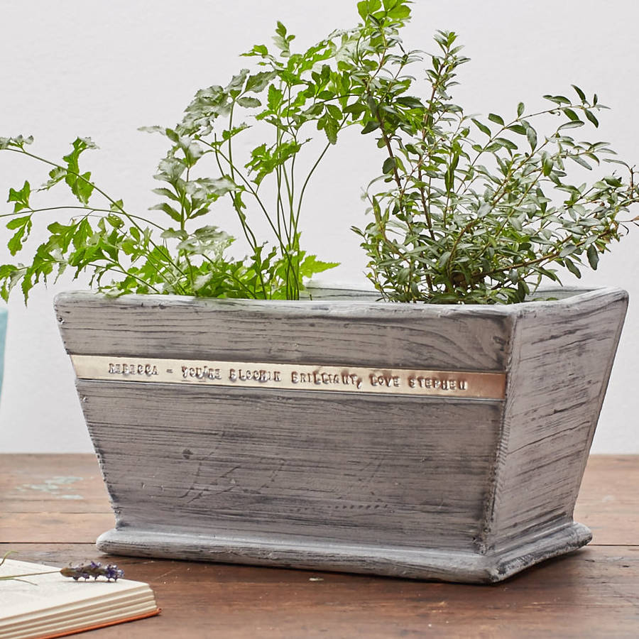 Personalised Wooden Pot Planter By Warner S End