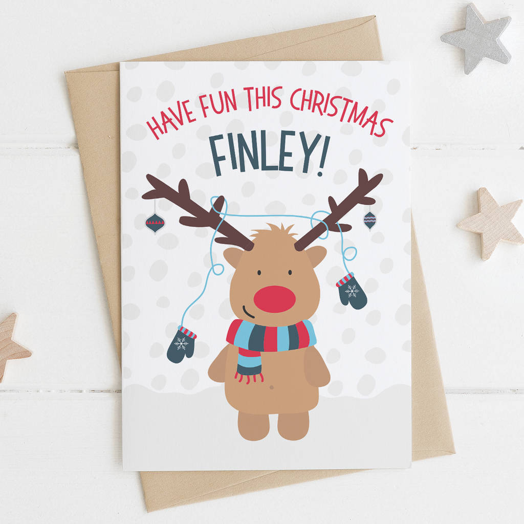 cute reindeer christmas card for children by wink design ...