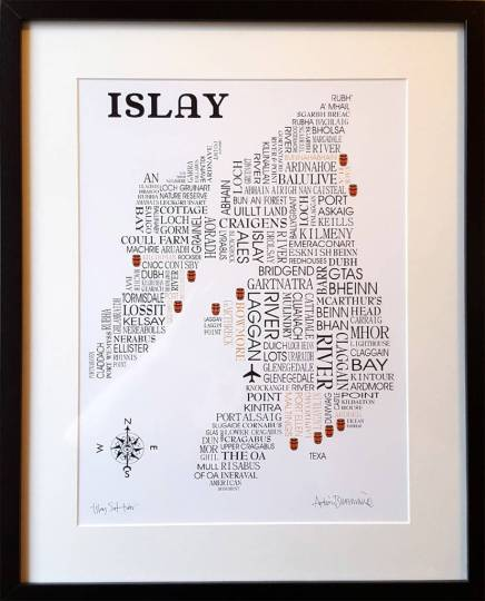islay whisky word map by adrian mcmurchie   notonthehighstreet com Islay Whisky Word Map