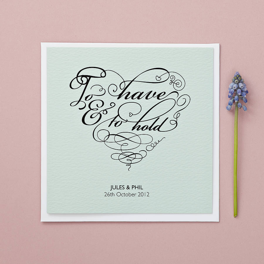 'to have and to hold' personalised wedding card by bonnie ...