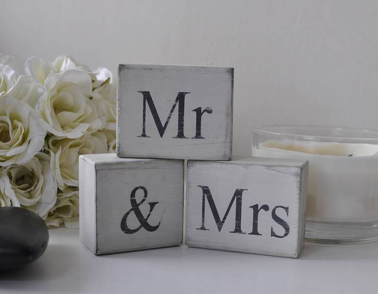mr and mrs  distressed block letters by hush baby sleeping      Mr And Mrs  Distressed Block Letters