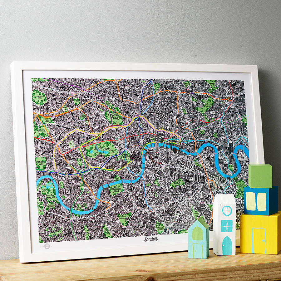 hand drawn map of london print by evermade   notonthehighstreet com Hand Drawn Map Of London Print