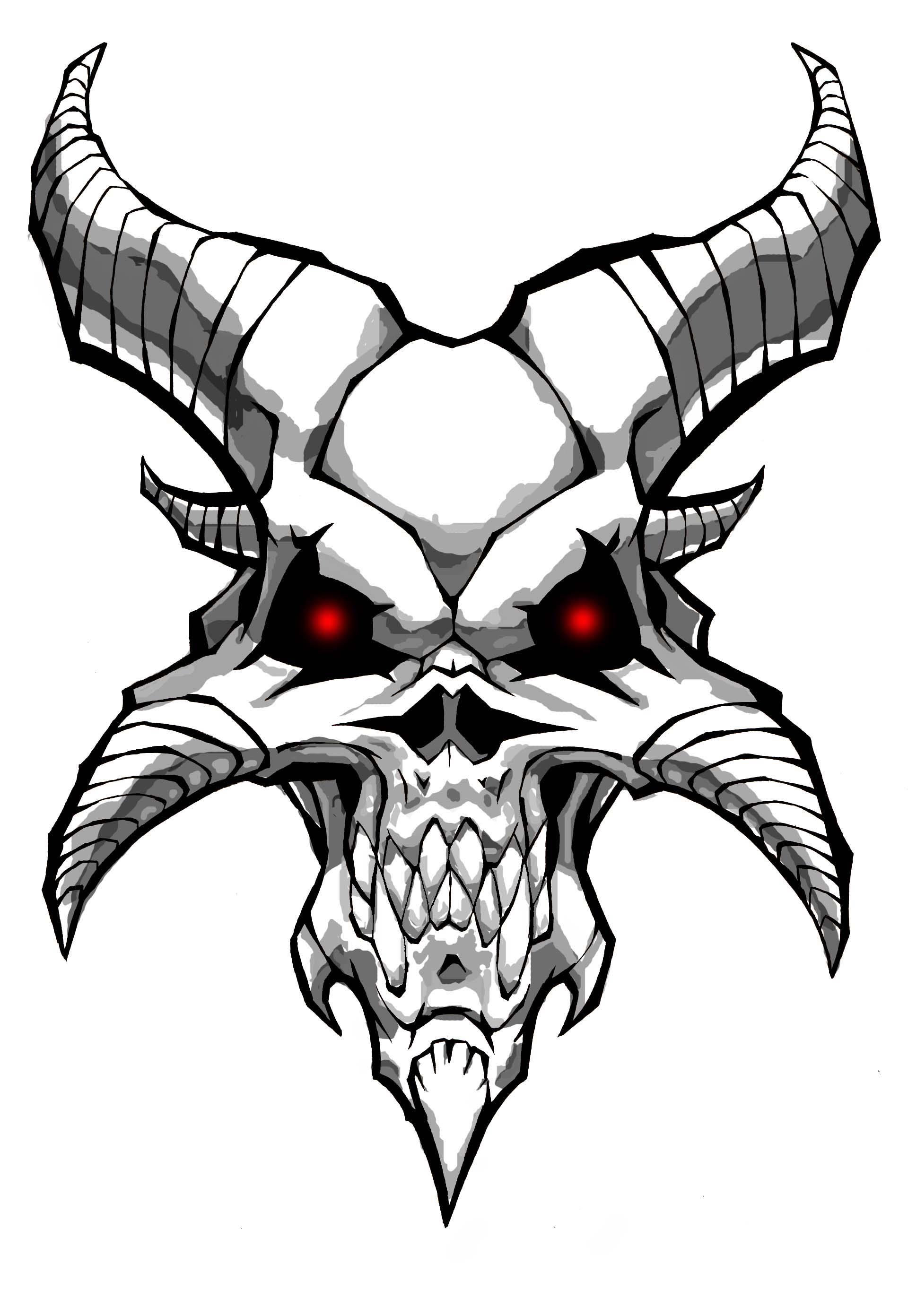 Devil Skull Drawing Easy Horns