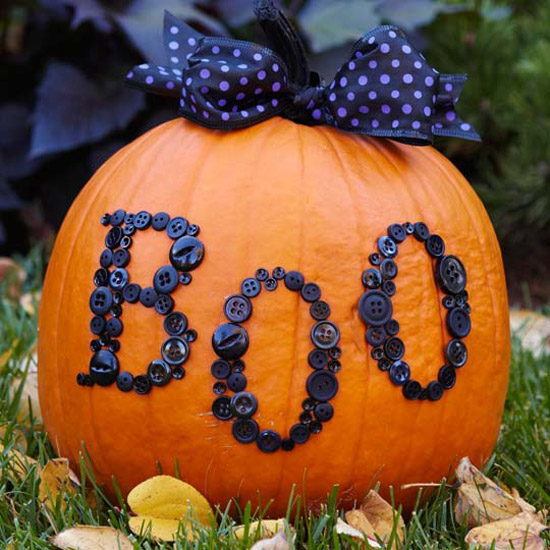17 Creative No Carve Pumpkin Decorating Ideas boo button pumpkin