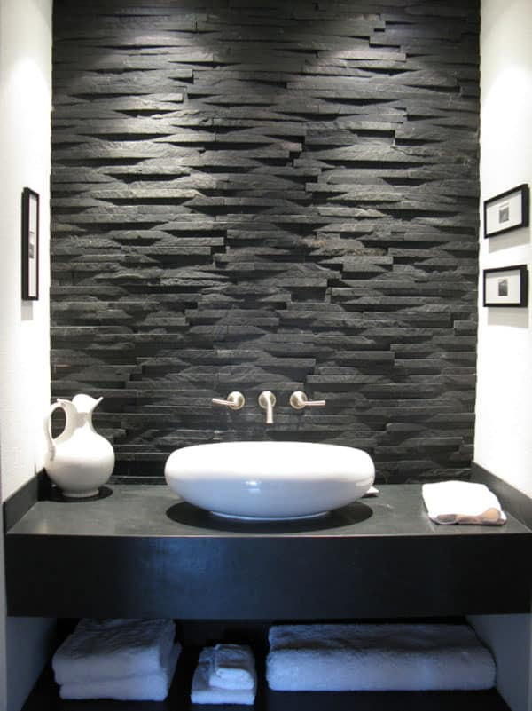 63 Sensational bathrooms with natural stone walls Stone Wall Bathroom 07 1 Kindesign