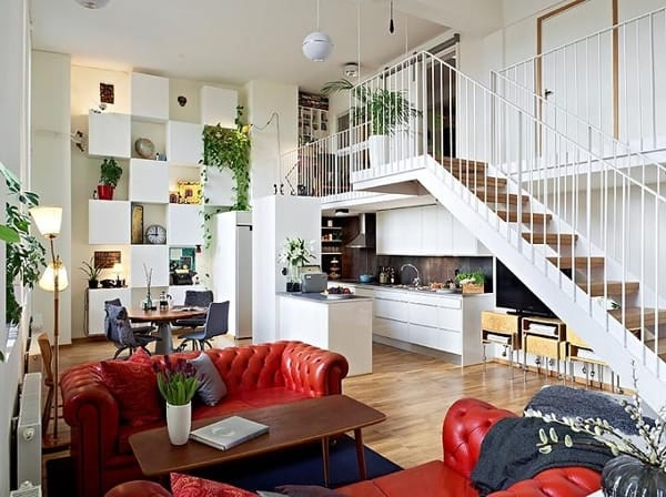 55 Amazing Space Saving Kitchens Under The Stairs | House Plans With Stairs In Kitchen | Luxury | Separate Kitchen | Compact Home | 2 Bedroom Townhome | Central Courtyard House