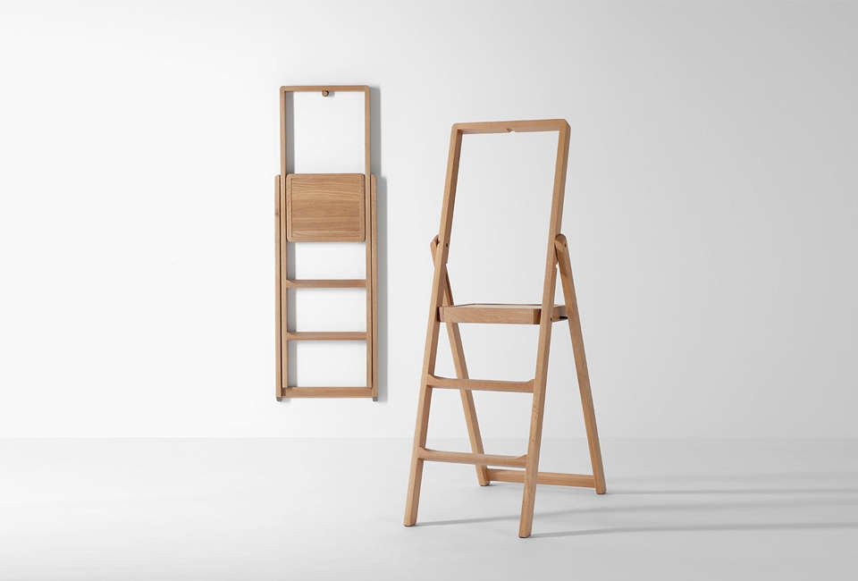 10 Easy Pieces Slim Step Ladders For Small Spaces Remodelista | Small House Ladder Design | Low Cost | Small Residence | Middle Class Duplex House | Small Living Room Stair | Simple