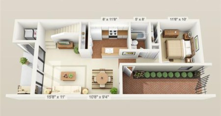 Town Home Floor Plans   Woodland Villas 2