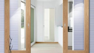 Double Sliding Door Wall Track Pattern 10 Oak 1 Pane